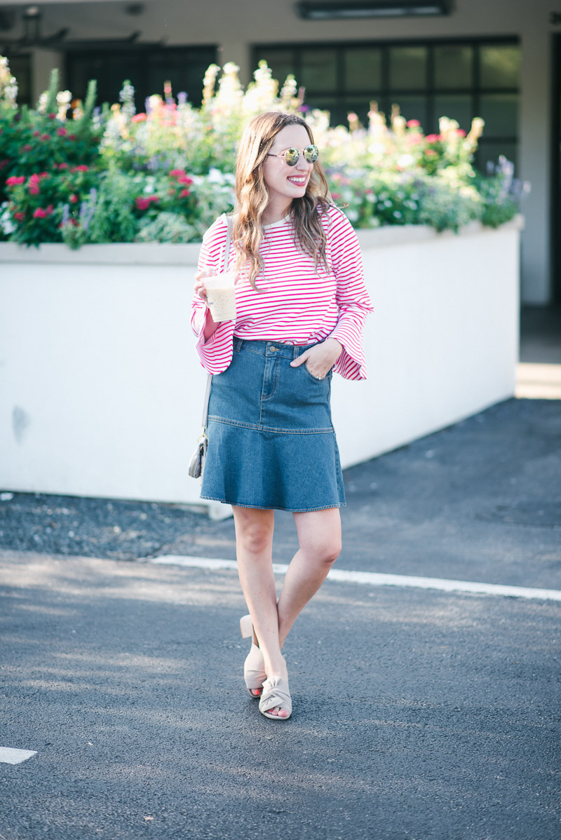{Iced} Coffee Chats + A Flirty Denim Skirt